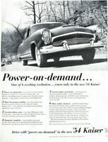 1954 Kaiser Automobile Vintage Print Ad Drive With Power On Demand