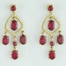 Ruby 5.75 Ct Genuine Drop Earring 10K Yellow Gold Occasion Designer Jewelry