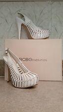 BCBGeneration Esters White Patent Platform Slingback Pumps Heels Stilettos 5.5