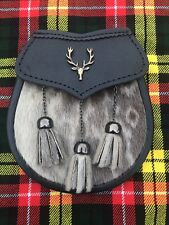 Semi Dress Kilt Sporran Leather Formal Seal Skin Stag Head Antique/Kilt Sporrans