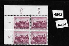 #4893  MNH Stamp Block Hero's day 1944 / Third Reich Military Self propelled gun