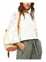 Free People White Paris Picnic Embroidered Top, Ivory, Small