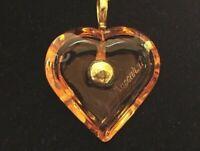 Baccarat a La Folie amber Heart Pendant 750 Gold Ball Bale Necklace Choker MIB