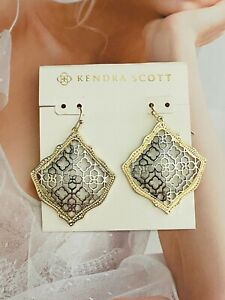 Kendra Scott Golden/Silver Drop Earrings Free Shipping