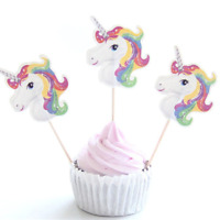 24 Unicorn Rainbow Cake Toppers: Birthday, Party, Baby Shower, Cake Decorations