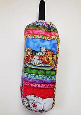 PLASTIC BAG SAVER; PATCHWORK CATS FABRIC; FULLY LINED - 8630