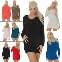 Ladies Jumper Fluffy V-neck Womens Knitted Cardigans Plain Knitwear Long Sleeves