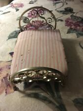 Antique vintage dollhouse Brass Bed bed frame Miniature Mattress doll house