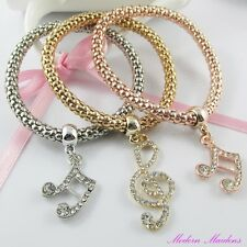 3pce Three Tone Rhinestone Music Notes Charm Stretch Popcorn Chain Bracelet Set