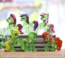 6pcs Transparent Green Horse My Little Pony Mini Figures Toy Collectibles