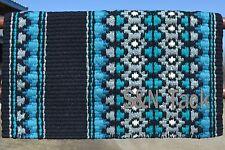 Mayatex Wool Show Saddle Blanket Pad 34x40 Black Turquoise Silv Grey White THICK
