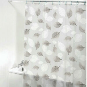 Floral Printed Shower Curtain Bathroom Waterproof Translucent with 12 Hooks Home