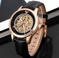 New Mens Emporio Armani AR4631 Meccanico Rose Gold Leather Watch -2 Year WARRANT