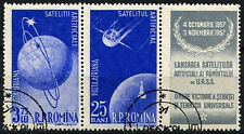Romania 1957 SG#2545a Artificial Satellite, Space Cto Used Pair + Label #D44135