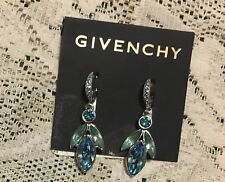 NW GIVENCHY PIERCED DROP BLUE/GREEN  STONE EARRINGS