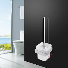 Toilet Brush SET Accessories Square Chrome Holder Wall Mount Glass Cup Bathroom
