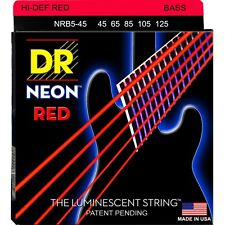 DR Strings NRB5-45 K3 Neon Hi-Def Red 5-String Med Electric Bass Strings 45-125