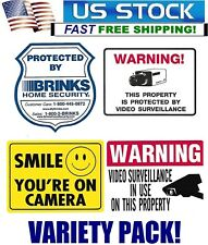 SECURITY WARNING STICKERS VARIETY PACK - LOT OF 4 BRINKS+SMILE CAMERA