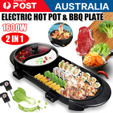 1x Electric 2 in 1 Hotpot Oven Smokeless Barbecue Pan Grill Machine Hot Pot BBQ