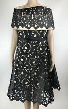 WHY Dress Size XXL Black Gold Laser Cut Off The Shoulder A-line NWT $130