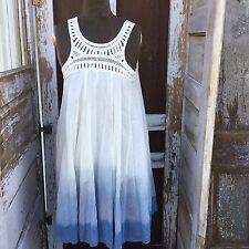 Earthbound Trading Company Dress Blue Mixed Ombre Sleeveless Crochet Boho Medium
