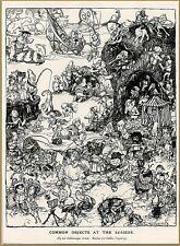 """1905 Arthur Rackham """"Studies for a Goblin Tapestry"""" Seaside Cartoon Art"""