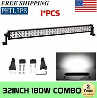 "32""in 180W LED Work Light Bar Offroad Spot Flood Combo 4WD Roof ATV SUV 30"" 150W"