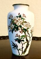 """Antique Japanese Cloisonne Silver Wire Vase Floral Motif Immaculate 7"""""""