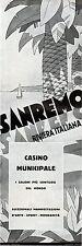 PUBBLICITA' 1931 SANREMO CASINO' RIVIERA ITALIANA MARE VACANZE MONDANITA'