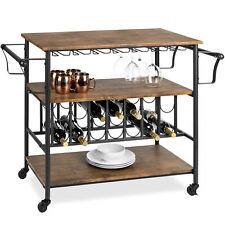 BCP 45in Industrial Wood Shelf Bar & Wine Cart w/ Bottle & Glass Racks