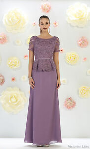 SHORT SLEEVE MOTHER of THE BRIDE PEPLUM EVENING FORMAL GOWN PLUS SIZE LONG DRESS
