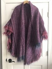 Tapestries Ireland Pink Multicolor Wool Poncho Cape Swing Coat Womens One Size