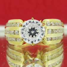 Genuine Solid 9ct Yellow Gold Engagement Wedding Band Ring Simulated Diamonds