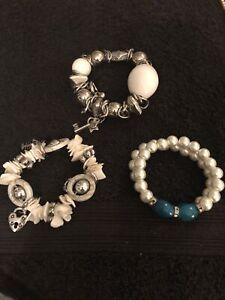 Lot Of 3 Bracelets. Shell Design Pearl Design And Beaded Design