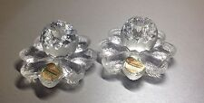 Vintage Germany 2x Joska Candle Holder Faceted Orb Single Daisy Lead Crystal