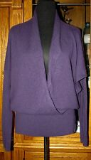 VINCE V Neck Mock Wrap Ribbed Waistline 100% Cashmere Dolman Sweater Purple S
