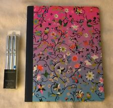 Cynthia Rowley set of 3 Silver Pens with Blue Ink and 80 Sheet Composition Noteb