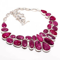 """Kashmir Red Ruby Handmade 925 Sterling Silver Jewelry Necklace 18""""B-6335"""