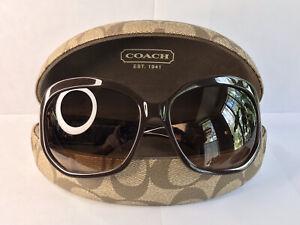 Authentic Coach Ryanne S800 Mod Oversized Brown C Sunglasses CE124 001 w/Case