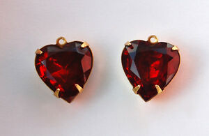 VINTAGE FACETED GLASS HEART BEAD PENDANTS CHARMS • 15mm • PINK, RED, JET