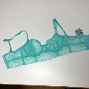 New Free People 32C 32 C Bra Green Lace Underwire Aquarium NO Padding Womens V5