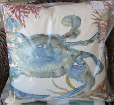 "POTTERY BARN Multi Printed Crab INDOOR/OUTDOOR Pillow 20"" Patio Porch New"