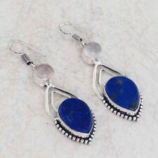"Lapis Lazuli Rose Quartz Handmade Drop Dangle Earrings 2.4"" AE 8428"