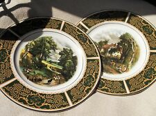 ELEGANT PAIR OF LARGE GILDED DISPLAY PLATES FAMOUS PAINTINGS GREEN & OCHRE RIM
