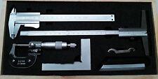 5 pièces ingénieurs mesure Set ~ ÉTRIER, MICROMÈTRE, Jauge de profondeur, carré,
