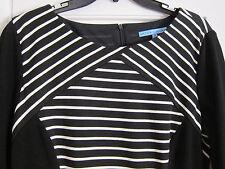Antonio Melani Knit Dress Black White Stripe Slimming 3/4 Sleeve Women Sz 12