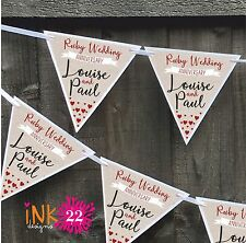 Personalised Ruby 40th Wedding Anniversary Party Decoration Banner Bunting