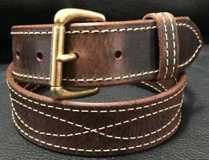 "1-1/2""Diamond Stitched Genuine Real Leather Dress Gun Belt Strap Buckle_Amish"