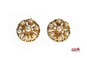 Victorian Cluster Pearl Earscrew Earrings 14Kt Rose Gold 585