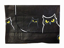 """Halloween Tablecloth Vinyl Cover flannel back Owls 52"""" x 70"""" Oblong"""